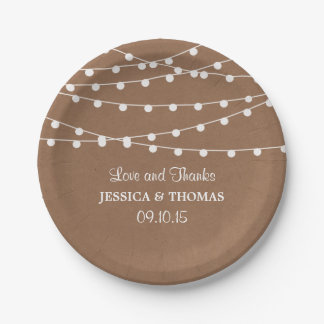The Rustic Kraft String Lights Wedding Collection 7 Inch Paper Plate