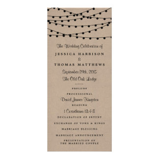 The Rustic Kraft String Lights Wedding Collection Customised Rack Card