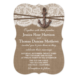The Rustic Nautical Anchor Wedding Collection 13 Cm X 18 Cm Invitation Card