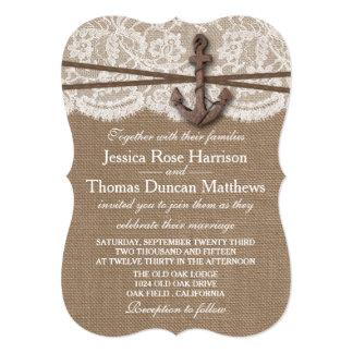 The Rustic Nautical Anchor Wedding Collection 13 Cm X 18 Cm Invitation Card