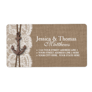 The Rustic Nautical Anchor Wedding Collection Shipping Label