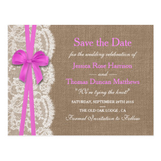 The Rustic Pink Bow Collection Save The Date Postcard