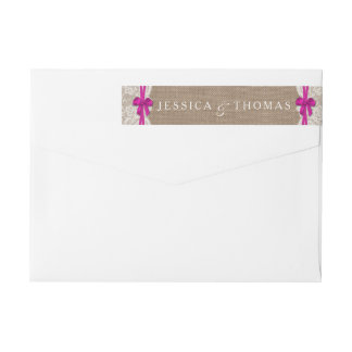 The Rustic Pink Bow Wedding Collection Labels Wraparound Return Address Label