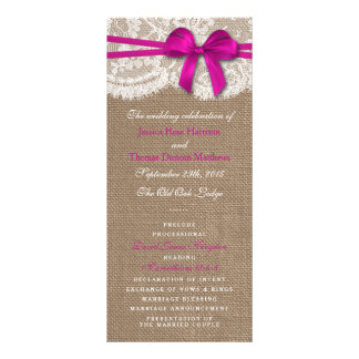 The Rustic Pink Bow Wedding Collection Programs Custom Rack Cards