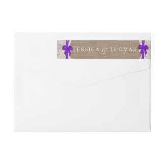 The Rustic Purple Bow Wedding Collection Labels Wraparound Return Address Label