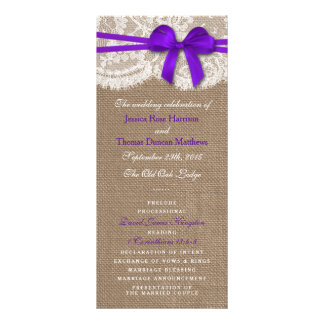 The Rustic Purple Bow Wedding Collection Programs Rack Card