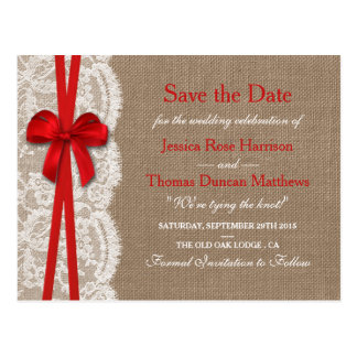 The Rustic Red Bow Collection Save The Date Postcard
