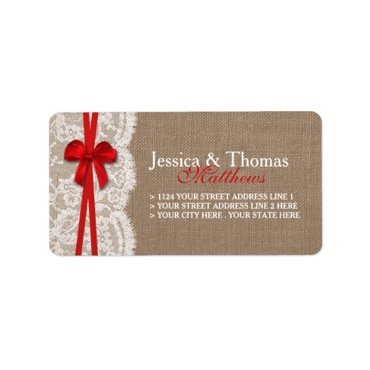 The Rustic Red Bow Wedding Collection Label