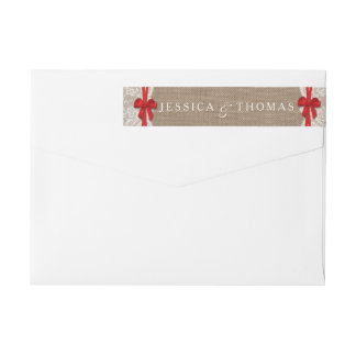 The Rustic Red Bow Wedding Collection Labels Wraparound Return Address Label