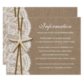 The Rustic Starfish Beach Wedding Collection 11 Cm X 14 Cm Invitation Card