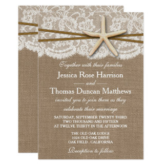 The Rustic Starfish Beach Wedding Collection 13 Cm X 18 Cm Invitation Card