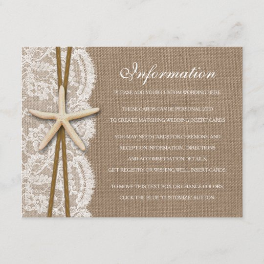 09504d240da The Rustic Starfish Beach Wedding Collection Enclosure Card