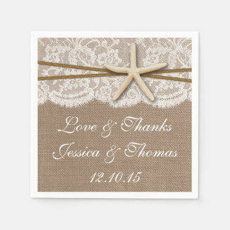 The Rustic Starfish Beach Wedding Collection Paper Napkin