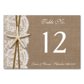 The Rustic Starfish Beach Wedding Collection Table Card