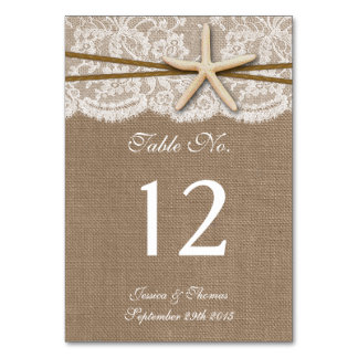 The Rustic Starfish Beach Wedding Collection Table Cards