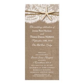 The Rustic Starfish Wedding Collection Programs Personalized Rack Card