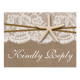 The Rustic Starfish Wedding Collection RSVP Postcard