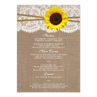 The Rustic Sunflower Wedding Collection Menu Cards 11 Cm X 16 Cm Invitation Card