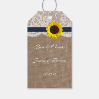 The Rustic Sunflower Wedding Collection - Navy Gift Tags