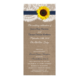 The Rustic Sunflower Wedding Collection - Navy Rack Cards