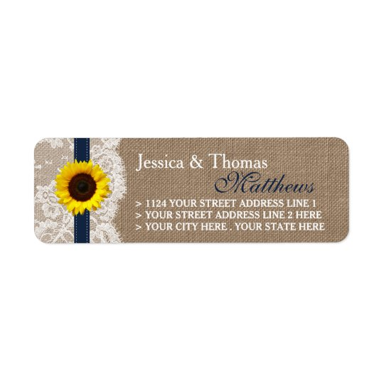 The Rustic Sunflower Wedding Collection - Navy Return Address Label