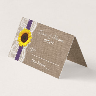 The Rustic Sunflower Wedding Collection - Purple Place Card