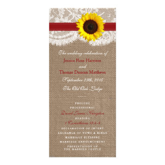 The Rustic Sunflower Wedding Collection - Red Customised Rack Card