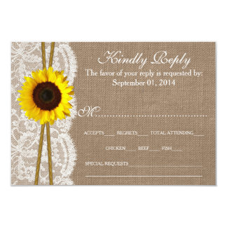 The Rustic Sunflower Wedding Collection RSVP Cards 9 Cm X 13 Cm Invitation Card