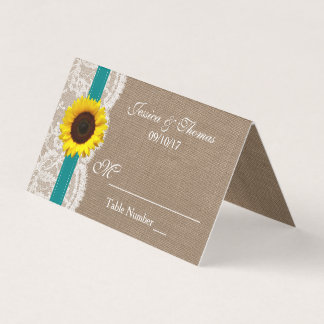 The Rustic Sunflower Wedding Collection - Teal Place Card