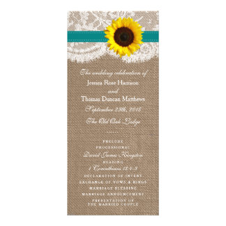 The Rustic Sunflower Wedding Collection - Teal Rack Card