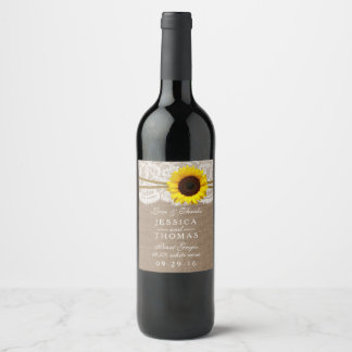 The Rustic Sunflower Wedding Collection Wine Label