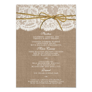 The Rustic Twine Bow Wedding Collection - Menu 11 Cm X 16 Cm Invitation Card