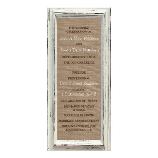 The Rustic White Frame & Burlap Wedding Collection Rack Card Design
