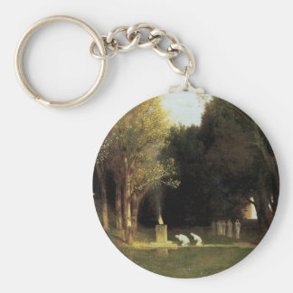 The Sacred Wood by Arnold Bocklin, Vintage Art Basic Round Button Key Ring
