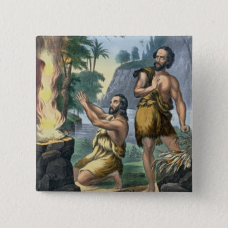 The Sacrifice of Cain and Abel, from a bible print 15 Cm Square Badge
