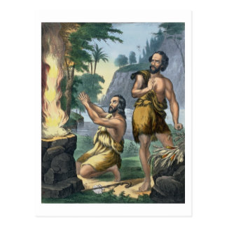 The Sacrifice of Cain and Abel, from a bible print Postcard