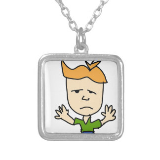 The sad boy silver plated necklace