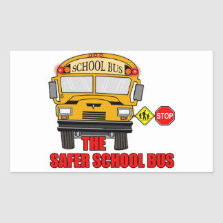 The safer school bus rectangular sticker