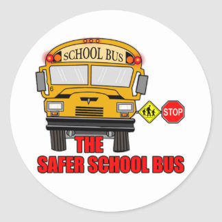 The safer school bus round sticker