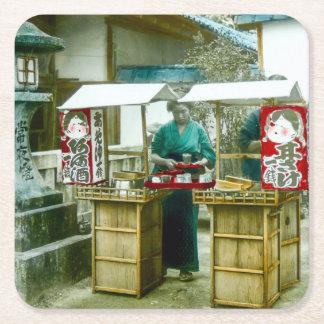 The Sake Seller in Old Rustic Japan Vintage Square Paper Coaster