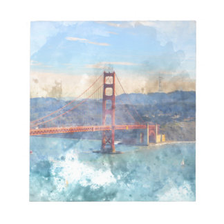 The San Francisco Golden Gate Bridge in California Notepad