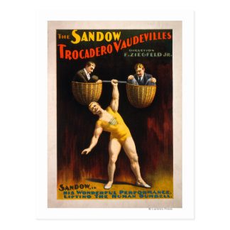 The Sandow Trocadero Vaudevilles Weightlifting Postcard