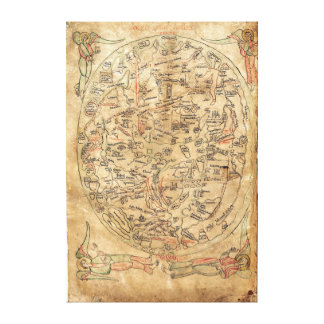 The Sawley Map Imago Mundi Honorius Augustodunensi Stretched Canvas Prints