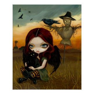 The Scarecrow gothic fairy cat halloween Art Print