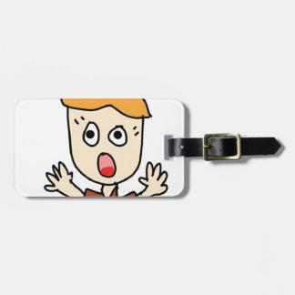 the scary boy cartoon luggage tag