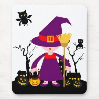 The Scary Witch of Halloween Mousepads