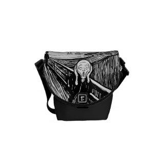The Scream ~ Black White Lithograph Edvard Munch Courier Bags