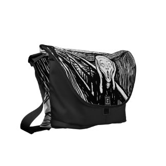 The Scream ~ Black White Lithograph Edvard Munch Messenger Bags