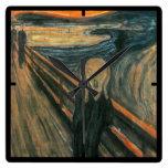 The Scream by Edvard Munch Square Wall Clocks