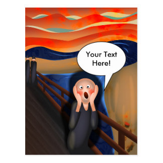 The Scream Fun Cartoon Parody Postcard